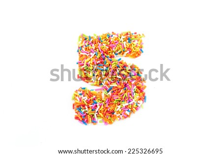 Colorful candy sprinkles number five isolated on white background - stock photo
