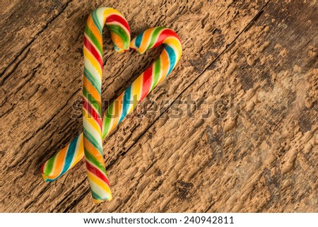 colorful cane candy - stock photo