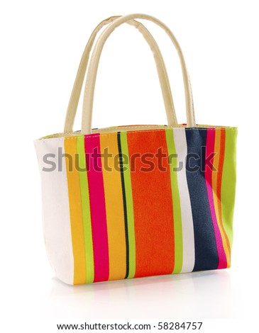colorful canvas hand bag with reflection on white background - stock photo