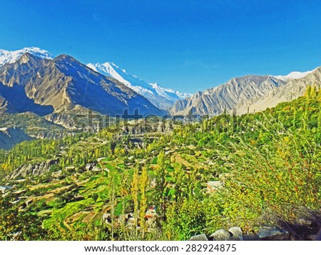 Colorful Canvas Painting Scenic View of Hunza Valley, Pakistan in Summer - stock photo