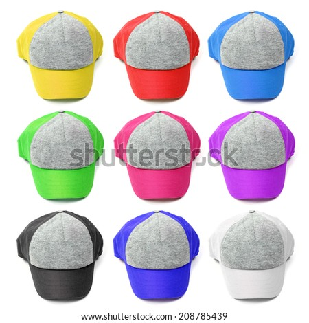 colorful caps isolated on white - stock photo