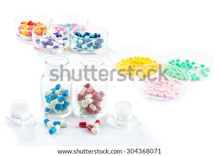 colorful capsule in Pill Container,  Healthcare And Medicine healthcare medicament - stock photo