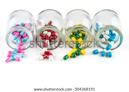 colorful capsule in  Transparent  bottle,  Healthcare And Medicine healthcare medicament - stock photo