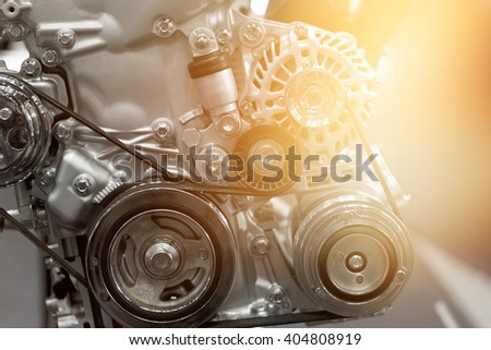 colorful car engine part - stock photo