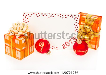 Colorful card on New Year 2013 with gift boxes and red balls isolated on white