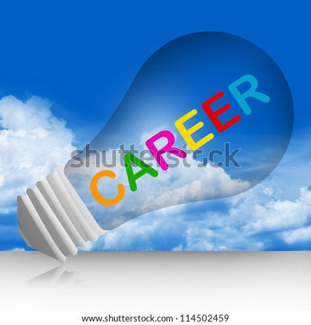Colorful Career Text Inside The Light Bulb For Job and Business Concept in Blue Sky Background - stock photo