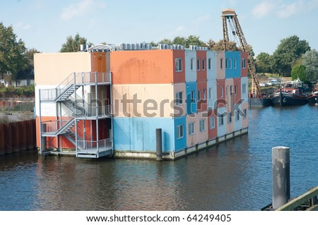 colorful cargo containers used for housing students in zwolle, netherlands