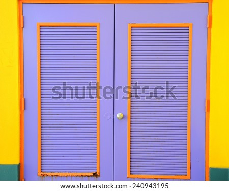 Colorful caribbean doors displayed in the bahamas. - stock photo