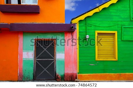 colorful Caribbean houses tropical vivid colors Isla Mujeres Mexico - stock photo