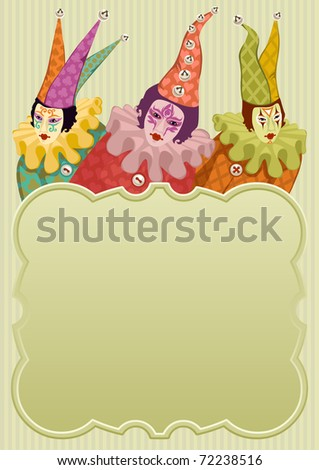 colorful carnival clowns around a light green frame - for vector version see image no. 71879878 - stock photo