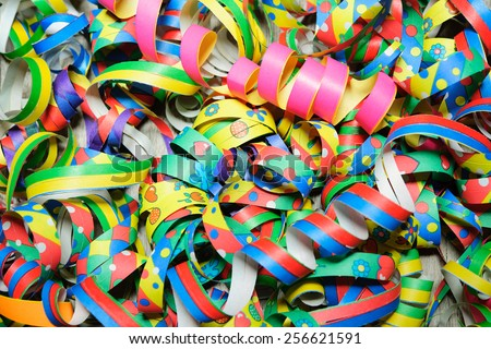 Colorful carnival streamers background texture - stock photo
