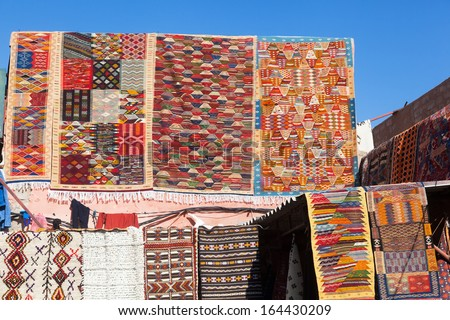colorful carpets in the souks of Marrakesh, Morocco - stock photo