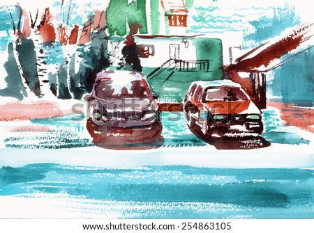 Colorful Cars in sunny day watercolor painting illustration pattern textile wallpaper poster print art - stock photo