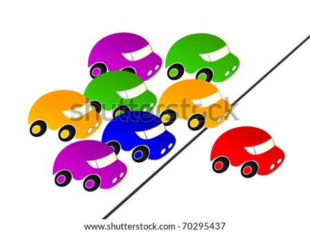 Colorful cars pursued the red car.Red car leader.EPS version is available as ID 69220657.
