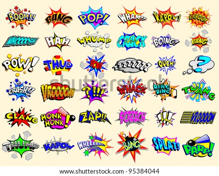 Colorful cartoon text captions. Explosions and noises - stock photo