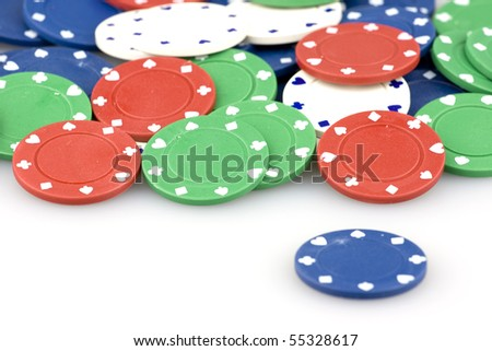 Colorful casino chips in a big stack.
