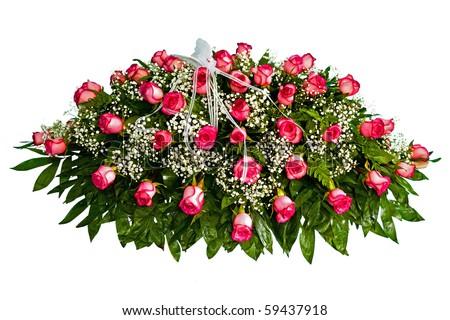 Colorful casket cover flower arrangement - stock photo