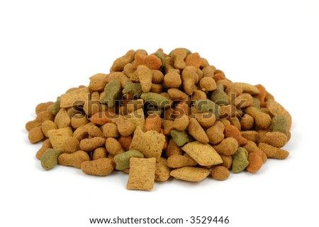 Colorful cat dried food in isolated white background