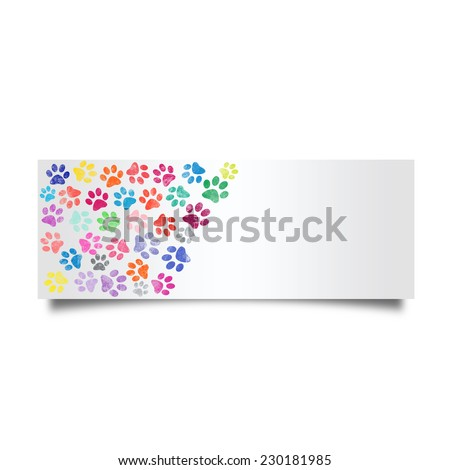 Colorful cat footprint card isolated on white background - stock photo