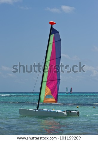 Colorful catamarans in the beach