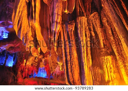 Colorful cave formations in Vietnam - stock photo