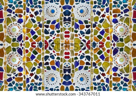 colorful ceramic tile patterns background. - stock photo