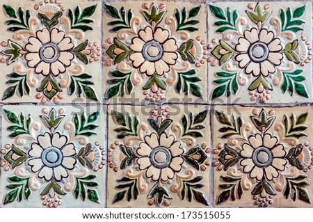 Colorful ceramic tiles. Soviet times. - stock photo