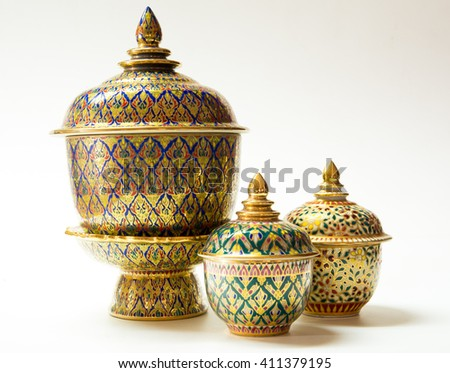 Colorful ceramic ware handcraft bowl isolated on white background. - stock photo