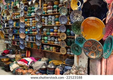 Colorful ceramics for sale in Marrakech, Morocco - stock photo