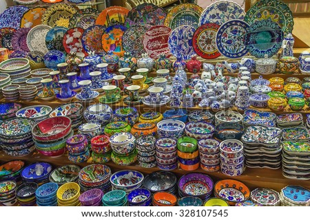 Colorful ceramics for sale on the Grand Bazaar at Istanbul - stock photo