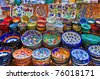 Colorful ceramics for sale on the Spice Bazaar at Istanbul - stock photo