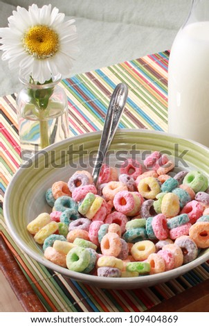 Colorful cereal in a bowl - stock photo