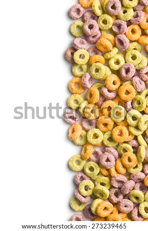 colorful cereal rings on white background - stock photo