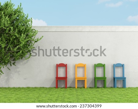 Colorful chair in a garden against white wall - 3D Rendering - stock photo