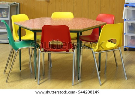 Classroom Table And Chairs school chair stock images, royalty-free images & vectors