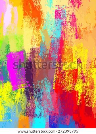 Colorful chalk brush strokes background. Raster version - stock photo