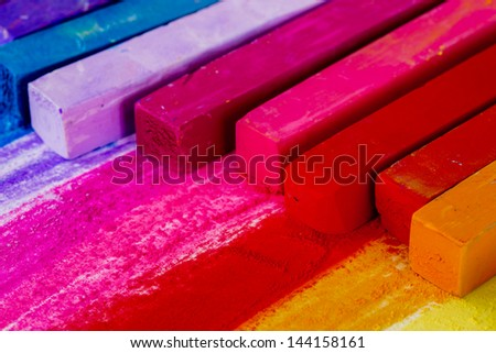 Colorful chalk pastels - education, arts,creative, back to school - stock photo