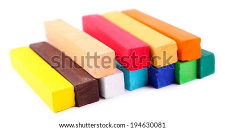Colorful chalk pastels isolated on white