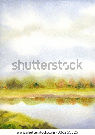 Colorful cheerful handmade watercolour on paper backdrop with space for text on grey heaven. Vivid white cumulus over light green sunlit grassland with lush bushes on horizon reflected in clear creek - stock photo