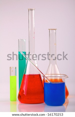 Colorful chemicals used in a scientific research experiment