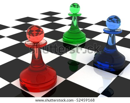 Colorful chess figures: three classical shape pawns made of different colored  glass (RGB color scheme). 3d render illustration. - stock photo