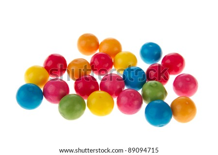 Colorful chewing gum balls isolated over white background