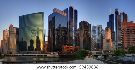 Colorful Chicago evening. - stock photo