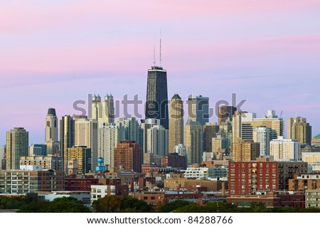 Colorful Chicago skyline at twilight. - stock photo