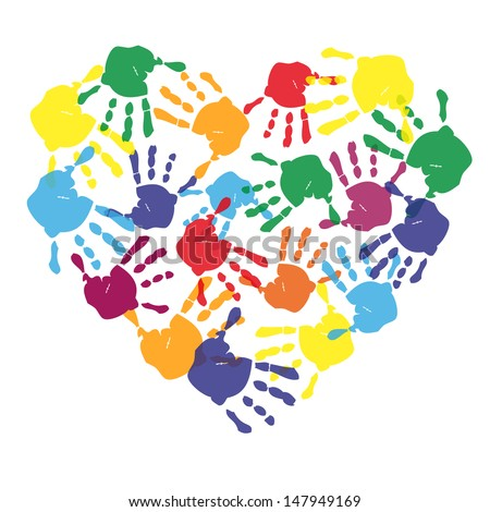 Colorful child hand prints in heart shape - stock photo