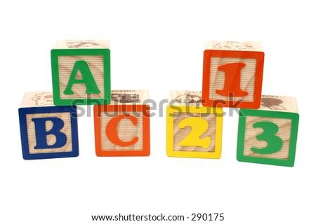 Colorful children blocks over white. ABC and 123. - stock photo