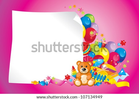 colorful children toys and frame for your text - stock photo