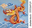 colorful chinese dragon at the wall of temple, Thailand - stock photo