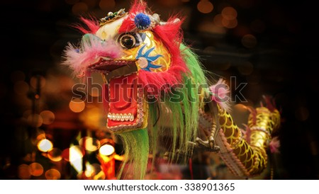 Colorful Chinese Dragon on display in Chinatown. - stock photo