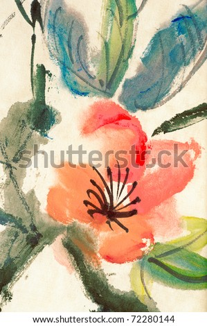 Colorful Chinese painting, flower and leaves, on art paper. - stock photo